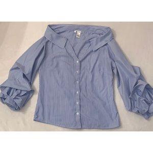 (S) Off the shoulder Striped Dress shirt